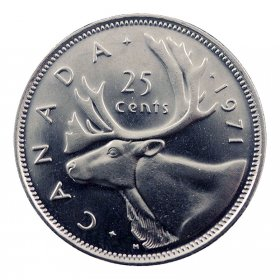 1971 Canadian 25-Cent Caribou Quarter Coin (Brilliant Uncirculated)