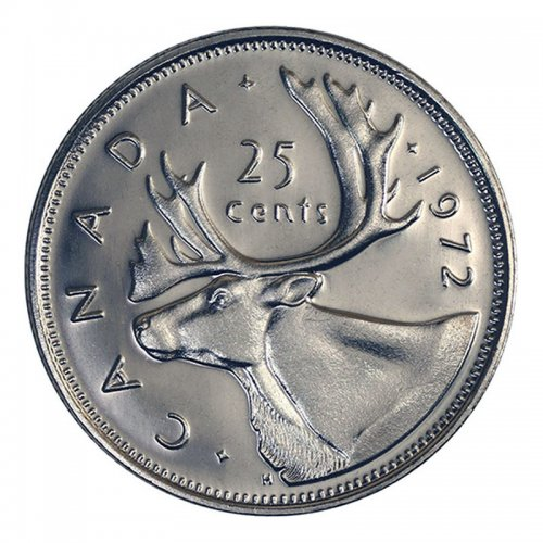 1972 Canadian 25-Cent Caribou Quarter Coin (Brilliant Uncirculated)
