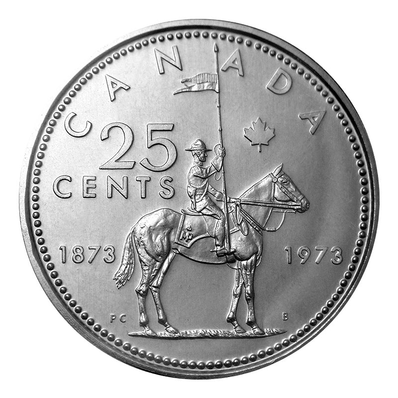 1973 (1873-) SMALL BUST Canadian 25-Cent RCMP Mounted Police Centennial  Quarter Coin (Brilliant Uncirculated)