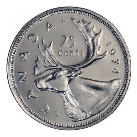 1974 Canadian 25-Cent Caribou Quarter Coin (Brilliant Uncirculated)