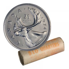 1974 Canadian 25-Cent Caribou Quarter Original Coin Roll