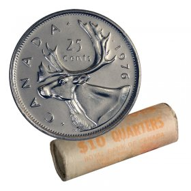1976 Canadian 25-Cent Caribou Quarter Original Coin Roll