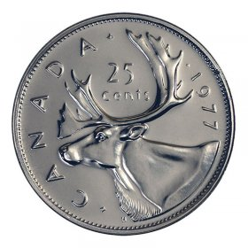 1977 Canadian 25-Cent Caribou Quarter Coin (Brilliant Uncirculated)