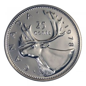 1978 LARGE DENTICLES Canadian 25-Cent Caribou Quarter Coin (Brilliant Uncirculated)