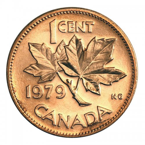 1979 Canadian 1-Cent Maple Leaf Twig Penny Coin (Brilliant Uncirculated)