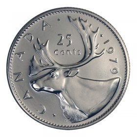 NO 1970 CANADA 1969 TO 1975 CARIBOU 25 CENT SET UNC 6 COINS