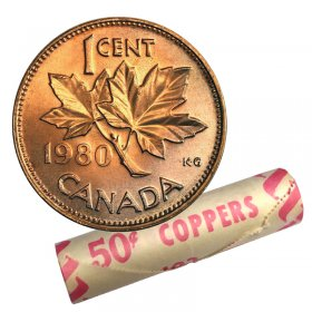 1980 Canadian 1-Cent Maple Leaf Twig Penny Original Coin Roll