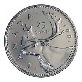 1981 Canadian 25-Cent Caribou Quarter Coin (Brilliant Uncirculated)