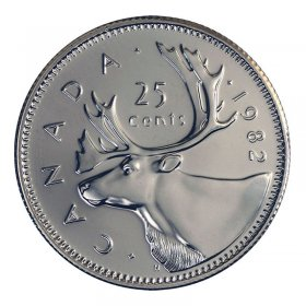 1982 Canadian 25-Cent Caribou Quarter Coin (Brilliant Uncirculated)