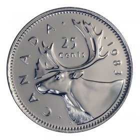 1983 Canadian 25-Cent Caribou Quarter Coin (Brilliant Uncirculated)