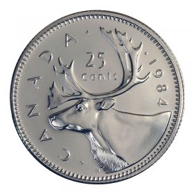 1984 Canadian 25-Cent Caribou Quarter Coin (Brilliant Uncirculated)