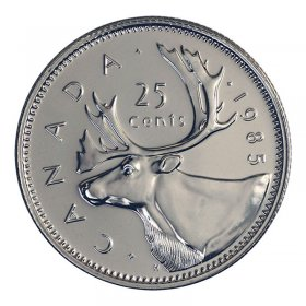 1985 Canadian 25-Cent Caribou Quarter Coin (Brilliant Uncirculated)