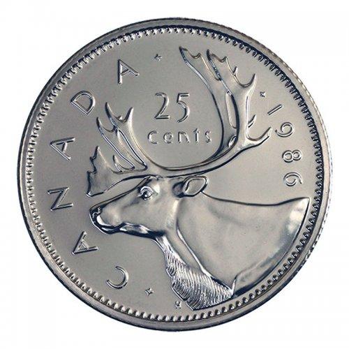 1986 Canadian 25-Cent Caribou Quarter Coin (Brilliant Uncirculated)