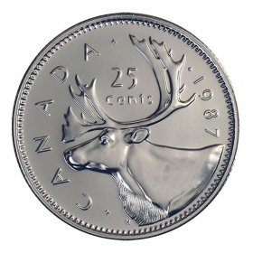 1987 Canadian 25-Cent Caribou Quarter Coin (Brilliant Uncirculated)
