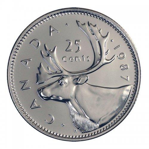 1987 Canadian 25-Cent Caribou Quarter Coin (Brilliant Uncirculated)