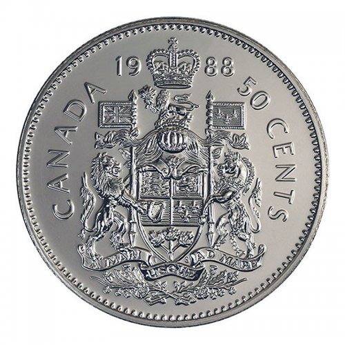 1988 Canadian 50-Cent Coat of Arms Half Dollar Coin (Brilliant Uncirculated)