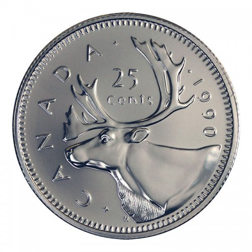1990 Canadian 25-Cent Caribou Quarter Coin (Brilliant Uncirculated)