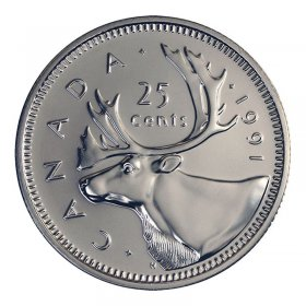 1991 Canadian 25-Cent Caribou Quarter Rare Date Coin (Brilliant Uncirculated)