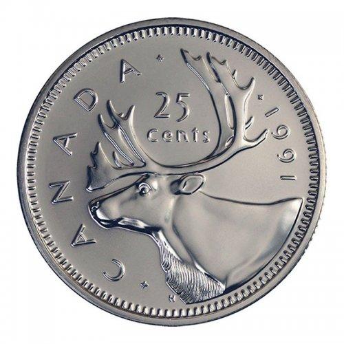 1991 Canadian 25-Cent Caribou Quarter Rare Date Coin (Brilliant Uncirculated)