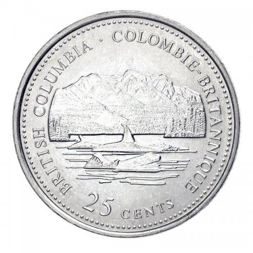 1992 (1867-) Canadian 25-Cent British Columbia Confederation 125th Anniv/Provincial Quarter Coin (Brilliant Uncirculated)