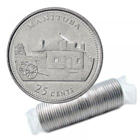 1992 (1867-) Canadian 25-Cent Manitoba Confederation 125th Anniv/Provincial Quarter Original Coin Roll