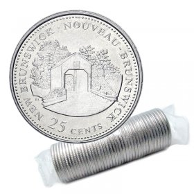 1992 (1867-) Canadian 25-Cent New Brunswick Confederation 125th Anniv/Provincial Quarter Original Coin Roll
