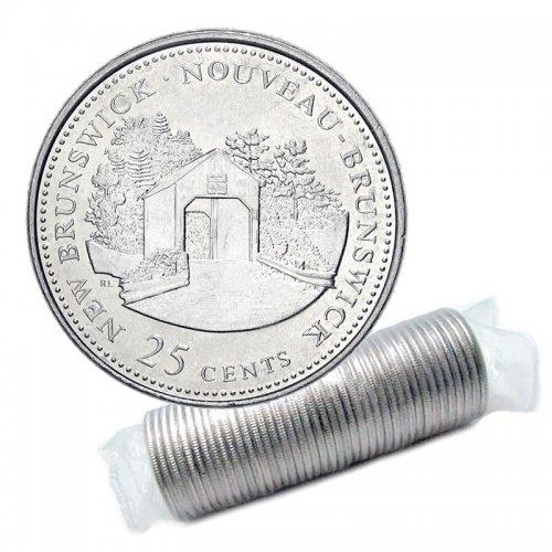 1992 (1867-) Canadian 25-Cent New Brunswick Confederation 125th Anniv/Provincial Quarter Original Coin Roll