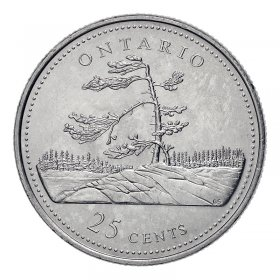 1992 (1867-) Canadian 25-Cent Ontario Confederation 125th Anniv/Provincial Quarter Coin (Brilliant Uncirculated)