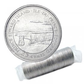 1992 (1867-) Canadian 25-Cent Prince Edward Island Confederation 125th Anniv/Provincial Quarter Original Coin Roll