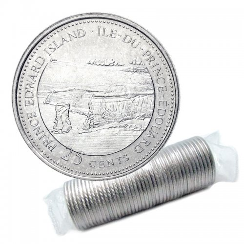 1992 (1867-) Canadian 25-Cent Prince Edward Island Confederation 125th Anniv/Provincial Quarter Original Coin Roll