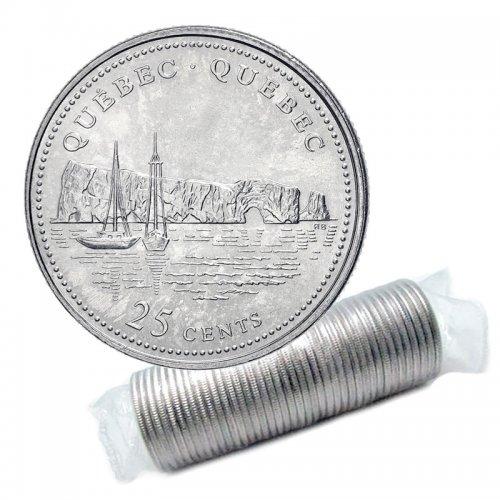 1992 (1867-) Canadian 25-Cent Quebec Confederation 125th Anniv/Provincial Quarter Original Coin Roll