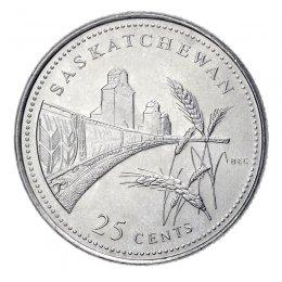 1992 (1867-) Canadian 25-Cent Saskatchewan Confederation 125th Anniv/Provincial Quarter Coin (Brilliant Uncirculated)