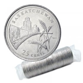 1992 (1867-) Canadian 25-Cent Saskatchewan Confederation 125th Anniv/Provincial Quarter Original Coin Roll