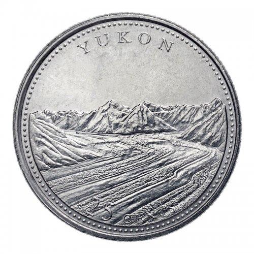 1992 (1867-) Canadian 25-Cent Yukon Confederation 125th Anniv/Provincial Quarter Coin (Brilliant Uncirculated)