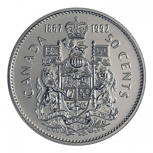1992 (1867-) Canadian 50-Cent Coat of Arms/Confederation Half Dollar Coin (Brilliant Uncirculated)