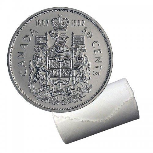 1992 (1867-) Canadian 50-Cent Coat of Arms/Confederation Half Dollar Original Coin Roll