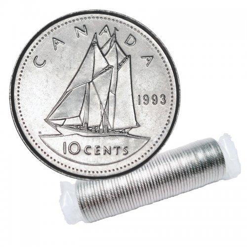 1993 Canadian 10-Cent Bluenose Schooner Dime Original Coin Roll
