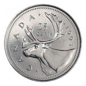 1993 Canadian 25-Cent Caribou Quarter Coin (Brilliant Uncirculated)