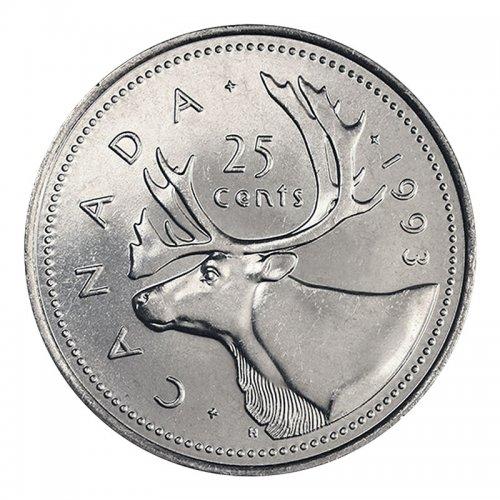 1993 Canadian 25-Cent Caribou Quarter Coin (Brilliant Uncirculated)