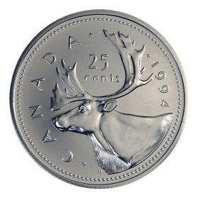 1994 Canadian 25-Cent Caribou Quarter Coin (Brilliant Uncirculated)