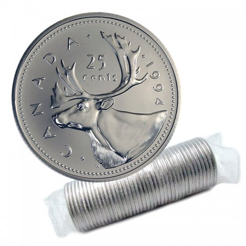 1994 Canadian 25-Cent Caribou Quarter Original Coin Roll
