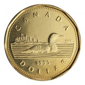 1995 Canadian $1 Common Loon Dollar Coin (Brilliant Uncirculated)