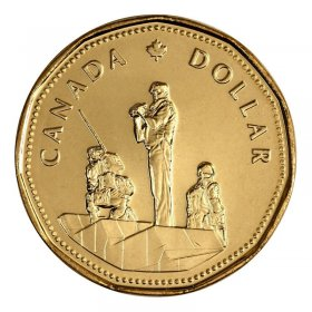 1995 Canadian $1 Peacekeeping/United Nations 50th Anniv Loonie Dollar Coin (Brilliant Uncirculated)