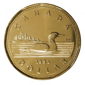 1996 Canadian $1 Common Loon Dollar Coin (Brilliant Uncirculated)