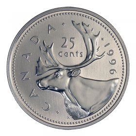 1996 Canadian 25-Cent Caribou Quarter Coin (Brilliant Uncirculated)