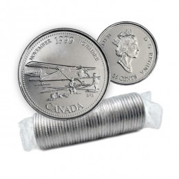 1999 Canadian 25-Cent November: The Airplane Opens The North Millennium Quarter Original Coin Roll