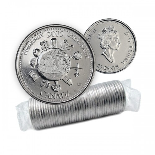 2000 Canada Millennium Series 25-cent Community Original Coin Roll