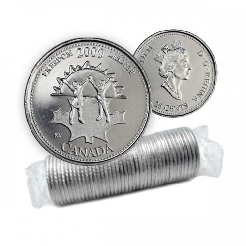 2000 Canada Millennium Series 25-cent Freedom Original Coin Roll