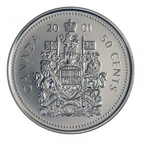 2001-P Canadian 50-Cent Coat of Arms Half Dollar Coin (Brilliant Uncirculated)