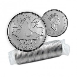 2002-P (1952-) Canadian 25-Cent Canada Day 135th Anniv/Queen's Jubilee Quarter Original Coin Roll